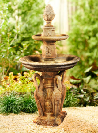 94511 2-Tier Heron Fountain with Pineapple