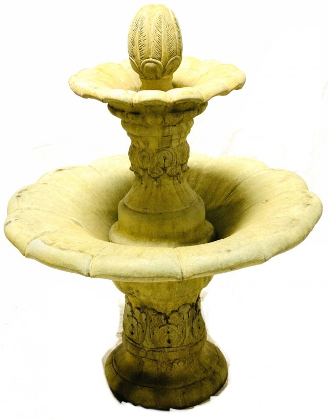 2 Tier Lotus Leaf Fountain Self Contained Unique Stone Antique Garden Reproductions